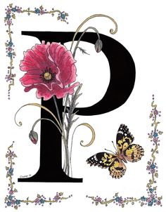 A Pink Poppy And A Painted Lady Butterfly Painting