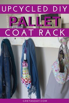 Make Your Own Reclaimed Wood Pallet Coat Rack and Shelf Make Your Own, Make It Yourself, How To Make, Pallet Coat Racks, Works With Alexa, Industrial Farmhouse, Home Decor Styles, Cottage Chic, Wood Pallets