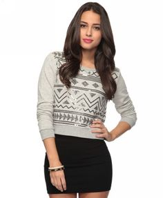 Mini-skirt but match it with a crop sweater and it makes it casual.