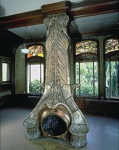 Fireplace in the Villa Majorelle, Nancy, France. The house was built by Henri Sauvage in 1901-1902