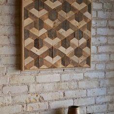 Reclaimed Wood Wall Art, Decor, Lath, Pattern, Geometric, Hexagon, Tessellation 24 x 24