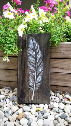 """Feather Sign, Black and White Feather Sign, Rustic Feather Sign Sign, Feather Home Decor, Feather Wall Art 14.5"""" x 7"""" - pinned by pin4etsy.com"""