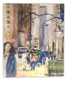 Watercolor art print mounted on wood panel — ready to hang — Downtown Chicago in Autumn with highrises and people walking down Michigan Ave by paulanathanart on Etsy https://www.etsy.com/listing/505857890/watercolor-art-print-mounted-on-wood