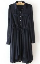 #SheInside   Navy Drawstring Waist Asymmetrical Pleated Dress $30.81