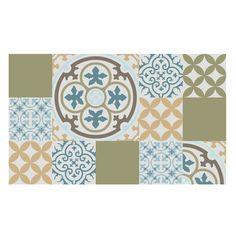 30% OFF Tiles Pattern Decorative PVC Mat 302 - Color mix PVC Rug, Kitchen mat by videcor on Etsy