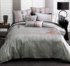 Deco Kenji Quilt Cover Set Range Silver Quilt Cover Sets, Comforters, Quilts, Blanket, Silver, Range, Furniture, Home Decor, Creature Comforts