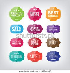 Vector set of vintage glossy colorful plastic labels for greetings and promotion. Premium Quality Guarantee, Bestseller, Best Choice, Sale, Special Offer, Christmas, Valentine's Day, Birthday. - stock vector