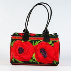 Poppy Embossed Black Handbag for Ladies, Top Handle Printed Bag, Floral Print Handbag, Unique Designer Handbag, Handmade Women Bag, 5051