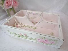 ROMANTIC TOTE CADDY SHELF hp roses chic shabby vintage cottage hand painted pink #WOODTOTECADDY
