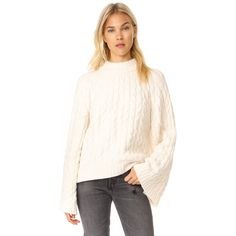 Free People Snowbird Pullover (188 AUD) ❤ liked on Polyvore featuring tops, sweaters, ivory, cable sweaters, cotton cable sweater, cable pullover, winter white sweater and crewneck sweater