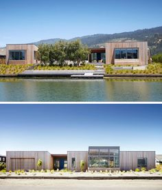 Turnbull Griffin Haesloop Architects have designed this wood-clad single storey house in Stinson Beach, California, that sits beside a lagoon.
