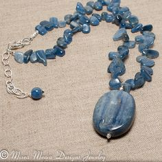 Blue Kyanite Pendant Necklace with Sterling by MixedMediaDesigns1, $99.00