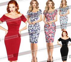 Women Elegant Vintage Floral Ruched OFF Shoulder Party Cocktail Wiggle Dress 500 | eBay