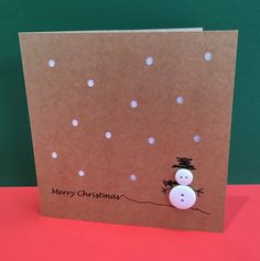 Christmas Card - Button Snowman with Paper Cut Snow - Paper Handmade Greeting Card - Holiday Card - Card Set - Pack Weihnachtskarte Button Schneemann mit Papier Schneiden Button Christmas Cards, Christmas Card Packs, Christmas Buttons, Christmas Card Crafts, Button Cards, Homemade Christmas Cards, Christmas Cards To Make, Christmas Greetings, Holiday Cards