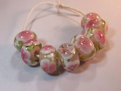 RESERVED for PRECIOUS1303 Pink Floral Set of 8 by VedasBeads, $60.00
