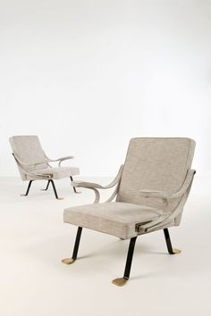 Ignazio Gardella; Lounge Chairs for Gavina, 1957.