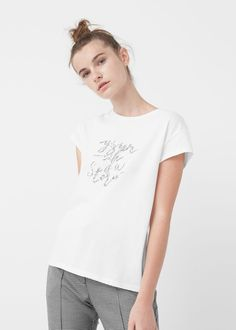 Message cotton t-shirt - T-shirts for Woman | MANGO Serbia