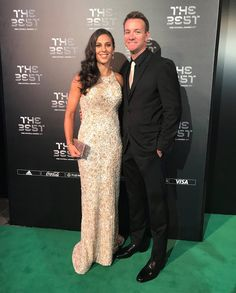 """Carli Lloyd shines in her custom """"Aniston"""" gown by Matthew Christopher at the FIFA """"The Best"""" 2017 Awards. #matthewchristopher #matthewbridal"""