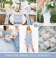 Pantone Spring 2016 Colour Palettes: Serenity   SouthBound Bride   Full credits & links: http://www.southboundbride.com/pantone-spring-2016-colour-palettes-part-1