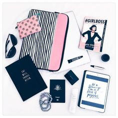 Travel Flatlay |  via instagram.com/mintandfizz  #flatlay #girlboss #typoshop #travel #kikkikloves #pink