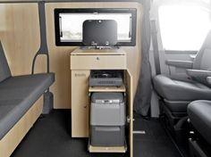 Custom-Bus VW T5/T6 Camping Vans, Wohnmobile, Camper, Reisemobile, Ausbau, Schlafsitzbank: Die Küchenbox macht den VW T5 / T6 Multivan und Custom-Bus Multi zum Wohnmobil