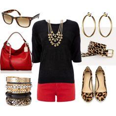 Red, Black  Leopard