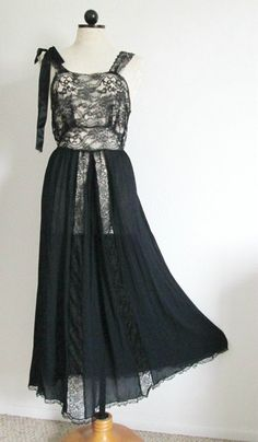 Lady Leonora Vintage 1940's Black Lace Top and Skirting Panels Long Nightgown- 32, $20.00