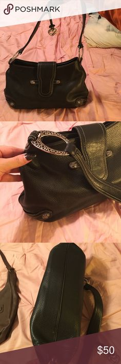 Black Brighton handbag. Beautiful Brighton handbag. Inside zippered  compartment. Two zippered sections. Hidden magnetic closure. Silver accents. Very gently used. Excellent condition. Brighton Bags Shoulder Bags