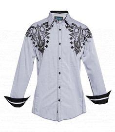 Roar Men's Berlin Embroidered Shirt Light Gray