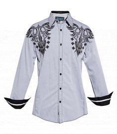 Roar Men's Berlin Embroidered Shirt Light Gray