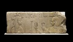 Limestone temple-relief of Ptolemy I offering to Hathor. Ancient Egypt, Ancient History, Ptolemaic Dynasty, Cow Horns, Cleveland Museum Of Art, Museum Collection, Gods And Goddesses, British Museum, Archaeology