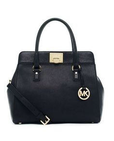 MICHAEL Michael Kors Astrid Large Satchel Black Leather