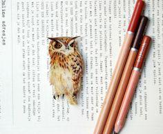 Owl brooch, hand painted jewelry, bird brooch, bird jewelry.