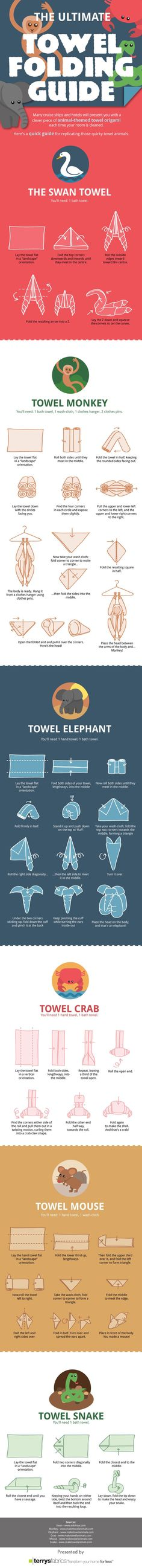 The Ultimate Towel Folding Guide by Terrys Fabrics. I could recreate the whole cruise folded towel deal at home.. but I probably won't.