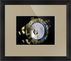 """Invicta Reserve Pro Diver Meteorite Lefty Watch (Framed) $80 - 16.5"""" x 18.5"""" printed on enhanced matte paper & regular glass glazing / Moulding: black,arqadia black angled; Top Mat: tan,antique taupe / Ultra-high quality photo with 15.9 million pixels (15,925,248 pixels; 300 dpi; 4608 x 3456) / Methodically examined photo is 100% original and can never be found anywhere on the web…"""