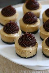 mini peanut butter chocolate cheesecakes