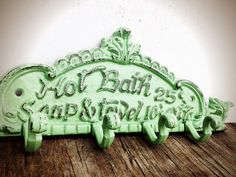 BOLD soft mint green BATH sign towel hook // nautical by BOLDHOUSE, $26.00