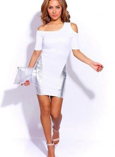 White Silver Metallic Faux Leather Insert Dress #cutout #bodycon #partydress #Minidress