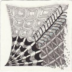 Ein Zentangle aus den Mustern Skwirl, Etcher, Galatea, Centipede gezeichnet von Ela Rieger, CZT
