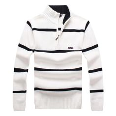 Men's Striped Zip Turtleneck Pullover
