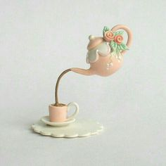 Miniature by ArtisticSpirit Polymer Clay Miniatures, Fimo Clay, Floating Tea Cup, Teapot Cake, Teacup Crafts, Teapots And Cups, Clay Charms, Cold Porcelain, Clay Creations