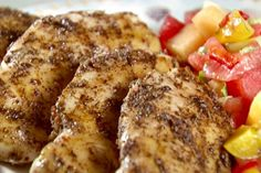 Get Chicken with Peach and Melon Salsa Recipe from Food Network