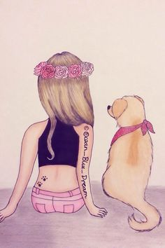 Girl With A Dog Drawings Of Friends Best Friend Drawings Cute Cute Beautiful Drawings Of Dogs Dog Portrait Turn Your Best Friend Drawings, Bff Drawings, Kawaii Drawings, Blue Dream, Marinette E Adrien, Dancing Drawings, Girly M, Disney Drawings