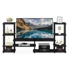 Furinno Turn-N-Tube Espresso/Black Grand Entertainment Center – The Home Depot – Media Room İdeas 2020 Floating Entertainment Center, Entertainment Wall Units, Living Room With Tv, Small Media Rooms, Media Room Design, Home Tv, French Oak, Shelf Design, Particle Board