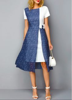 The slate blue overlay on the white. Loving the Color Block Printed Short Sleeve Dress!So cute for special occasions Stylish Dresses, Women's Fashion Dresses, Casual Dresses, Side Slit Dress, Party Frocks, Club Party Dresses, Short Sleeve Dresses, Dresses With Sleeves, Classy Dress