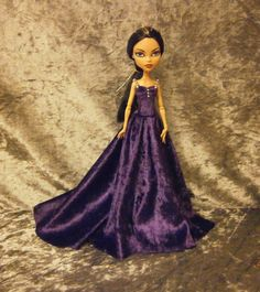 Purple velvet gown for monster high doll by moonsight68 on Etsy, $20.00