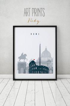 Skyline von Rom, Rom drucken, Poster, Wandkunst, Italien Stadtbild, Stadt Drucke, Reise-Plakat, Typografie Kunst, Geschenk, Home Decor, ArtPrintsVicky