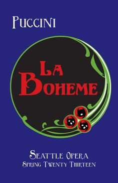 La Boheme Puccini Opera Poster. Triadic color scheme blue-violet, red-orange and yellow-green. Saturated, high contrasting colors for a dramatic opera.
