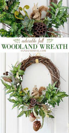 Adorable DIY Fall Woodland Wreath