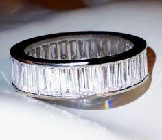 VINTAGE ESTATE 5 CTW PLATINUM BAGUETTE DIAMOND ETERNITY BAND RING $20K VVSFG  #Eternity